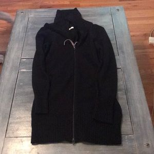 Long black wool sweater